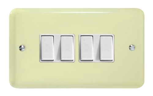 Varilight XY9W.WC Lily Pastel White Chocolate 4 Gang 10A 1 or 2 Way Rocker Light Switch